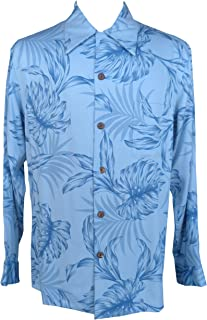 product image for Paradise Found Mens Monstera Palm Kamehameha Style Long Sleeve Shirt Sky Blue M