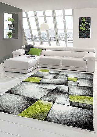 Designer Teppich Moderner Teppich Wohnzimmer Teppich Kurzflor Teppich Mit  Konturenschnitt Karo Muster Grün Grau Weiß Schwarz
