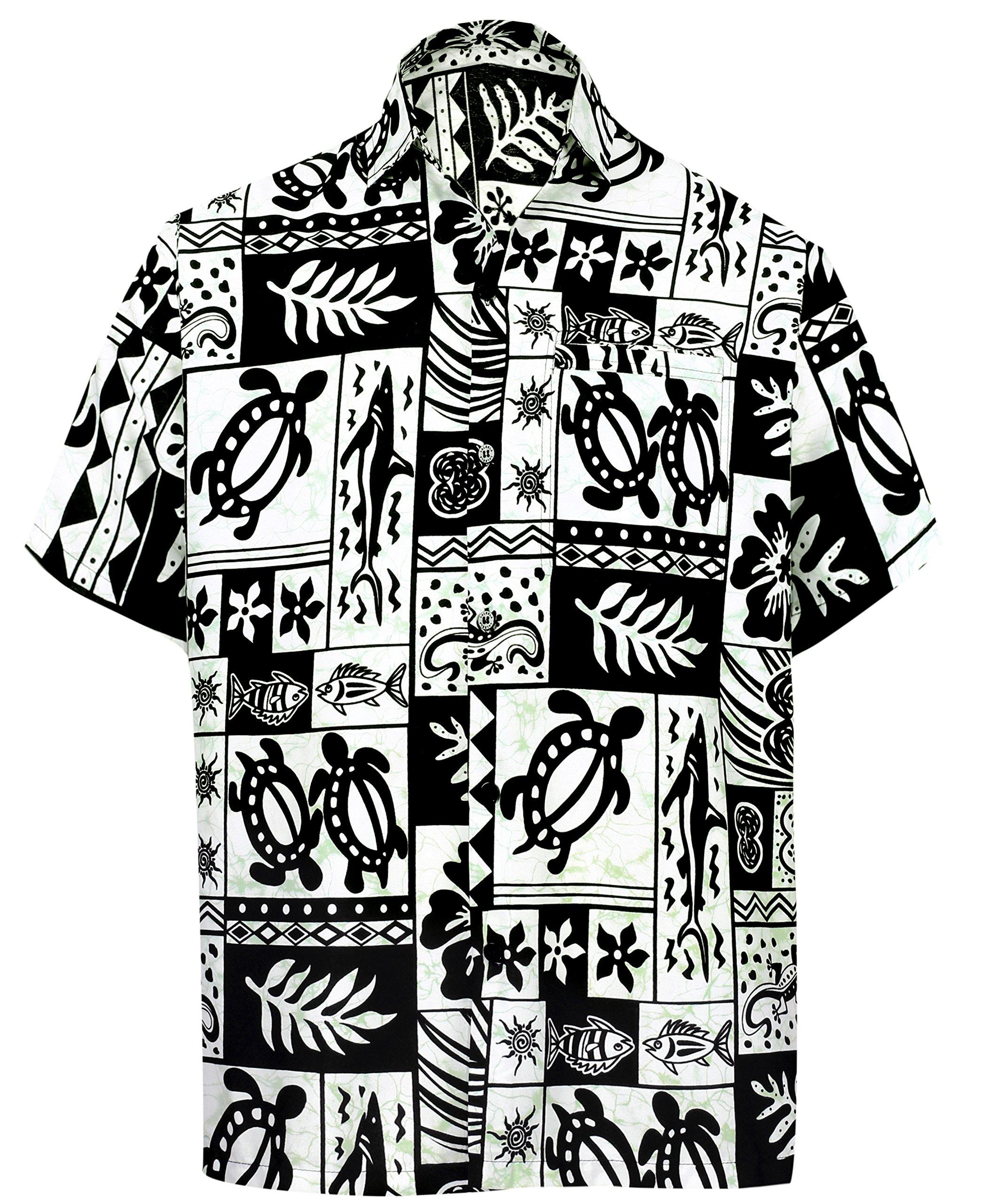 LA LEELA Likre Vacation Party Shirt Black 176 XL   Chest 48'' - 52''