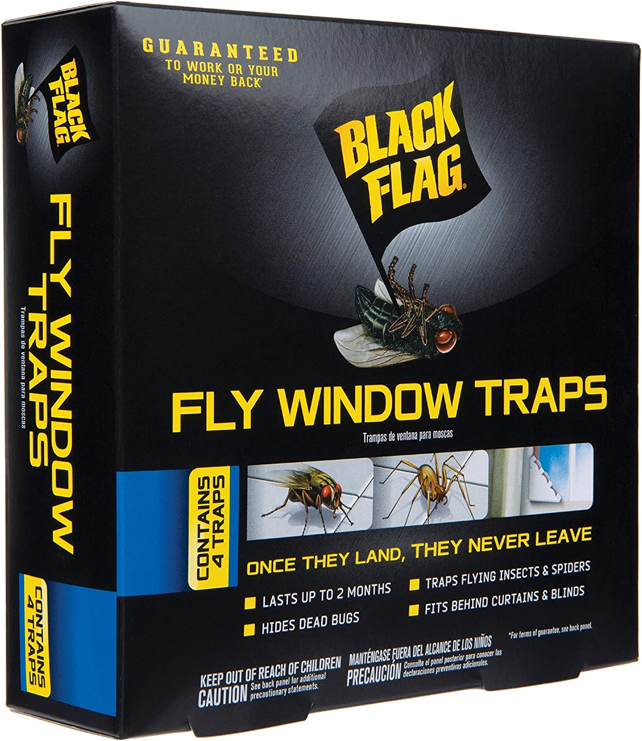 Black Flag HG-11017 Fly Window Trap, Ready-to-Use, 4-Count, 12, Clear