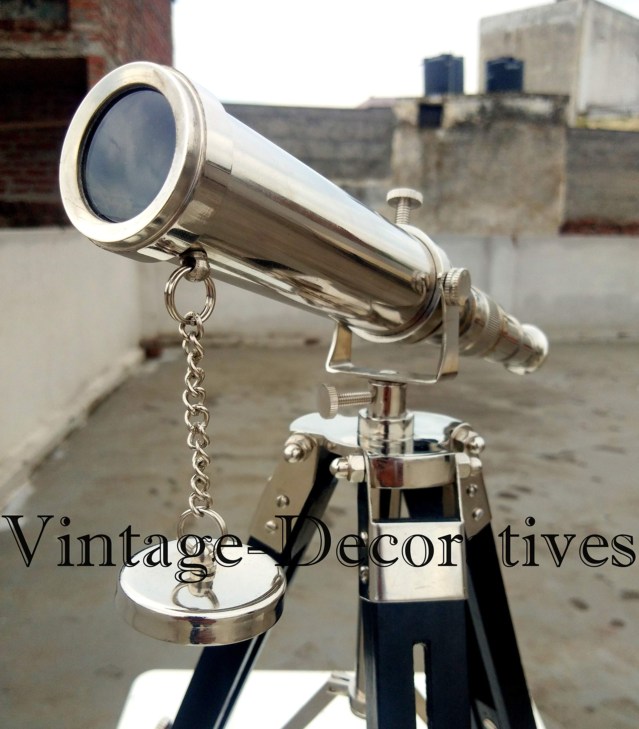 vintage-decoratives Beautiful Chrome Pirated Brass Telescope with Black Wooden Tripod Stand Handmade Maritime Vintage Nautical Ship Working Telescope by vintage-decoratives