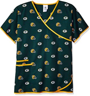 5eec44f5c6c Scrub Dudz Women's NFL Women's Mock Wrap Scrub Top, Green Bay Packers, X-