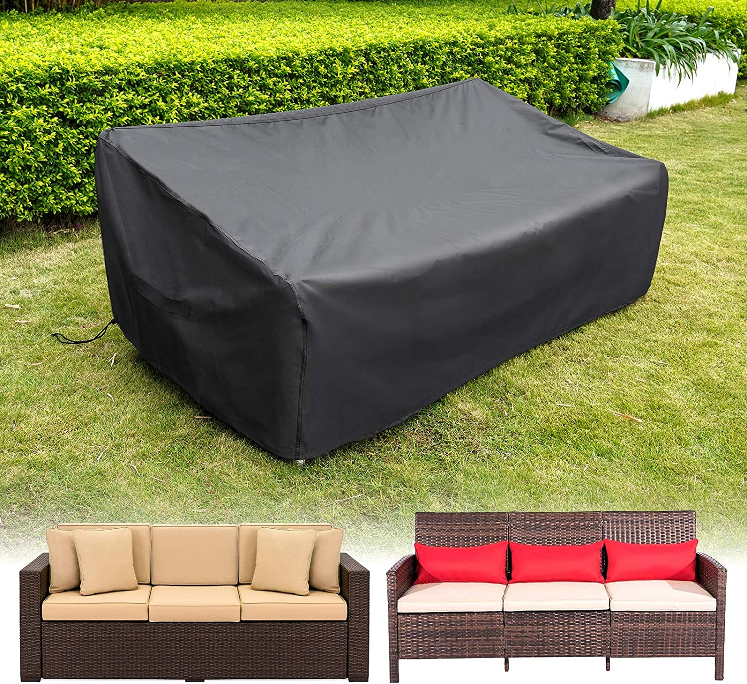 "HIRALIY Patio Loveseat Covers Waterproof 3 Seaters Patio Sofa Cover Lounge Deep Seat Chairs Cover Heavy Duty Patio Furniture Covers for Outdoor Bench (82.6"" L x 39"" W x 27.5"" H)"