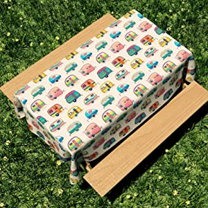 """Picnic Table Cloth with Happy Camper Words Caravans Retro Style RV Fun Holiday Camping Decor Washable Waterproof Outdoor Picnic Camping Tablecloth (60"""" X 84"""", Happy Camper02)"""