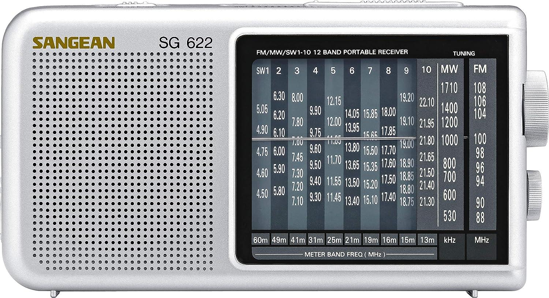 Radio Sangean SG-622 Port/átil, Anal/ógica, 87,5-108 MHz, 520-1710 kHz, Plata, AA