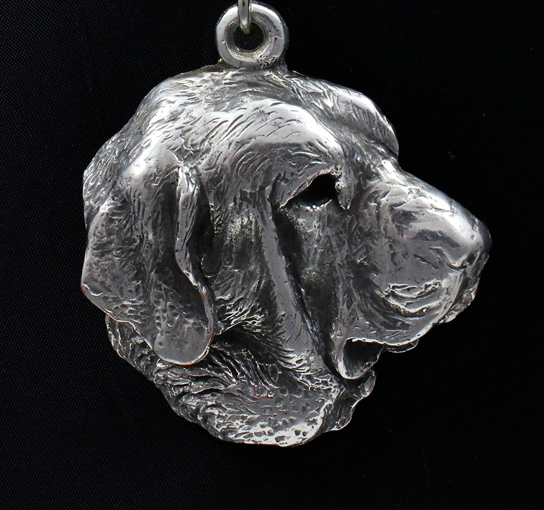 ArtDog Spanish Mastiff Necklace Silver Plated Dog Pendant on a Leather Cord