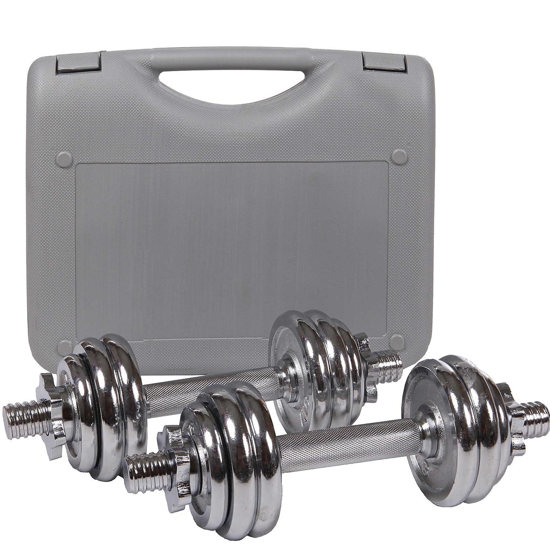ScSPORTS - Maletín con pesas y mancuerna de cromo, 15kg ajustable ...