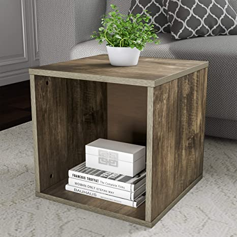 Lavish Home 80 Mod 5 End Stackable Contemporary Minimalist Modular Cube Accent Table Or Shadowbox For Bedroom Living Room Or Office Gray
