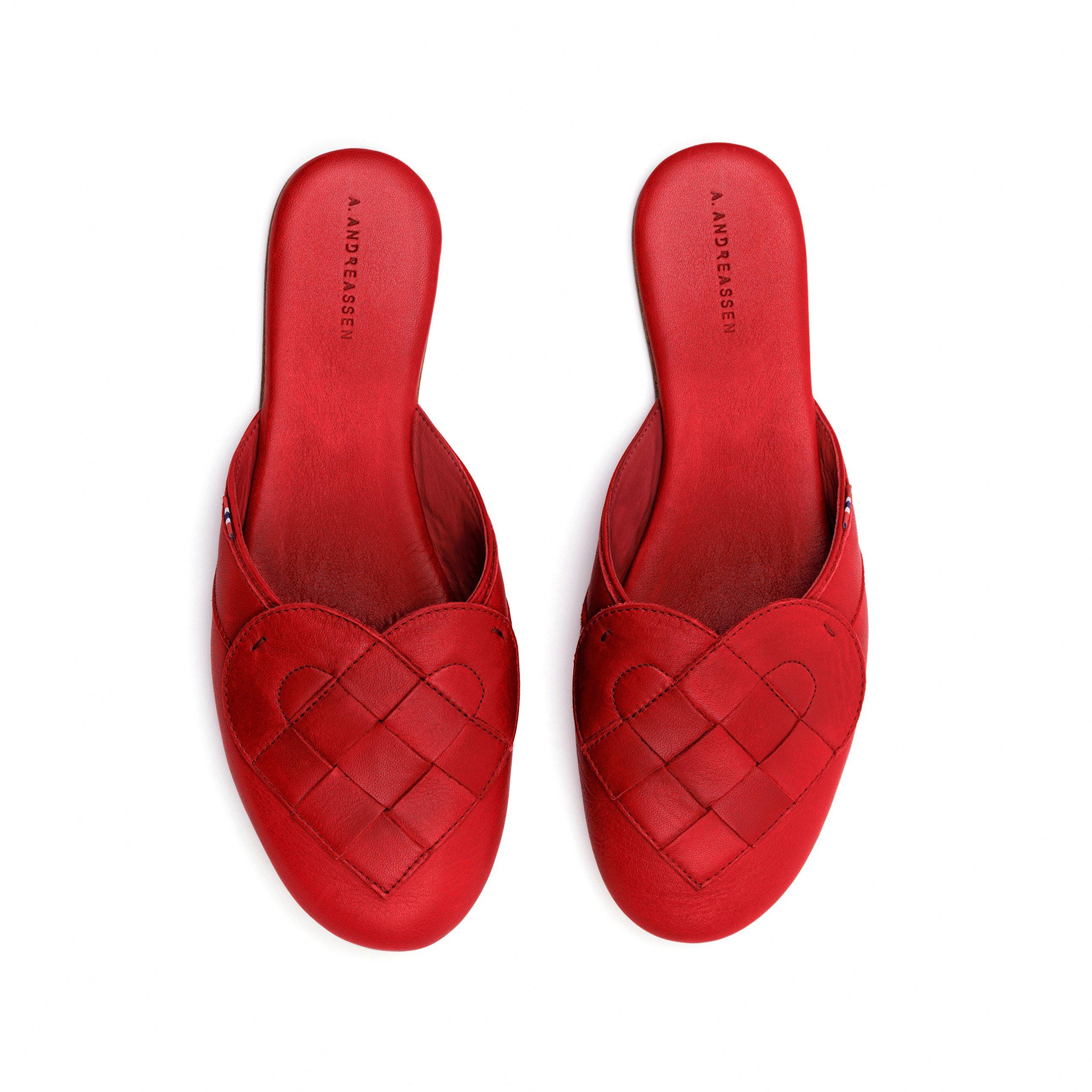 A. Andreassen Women's Elskling Mule Slipper Italian Leather ''Very Red'' 9 US 40 EU