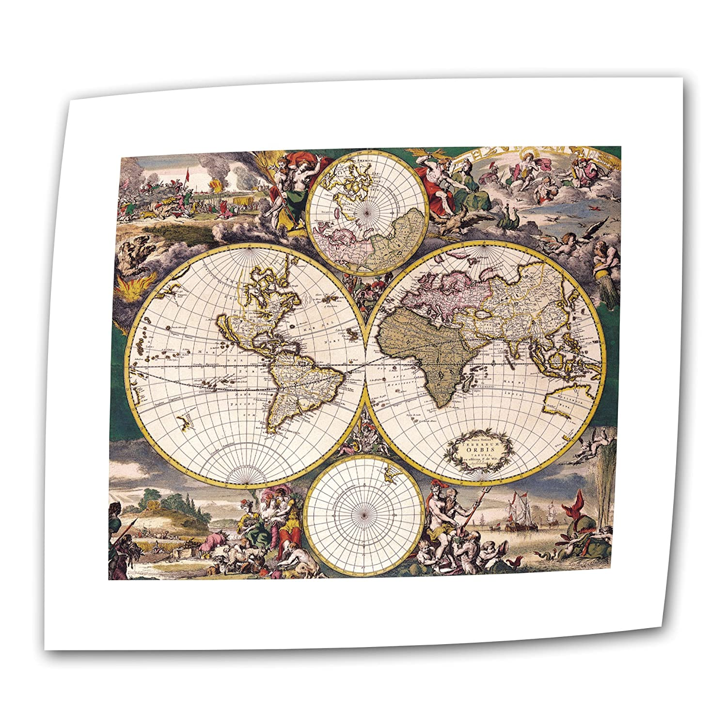 18 by 22-Inch ArtWall Terrarum Orbis Antique Map Unwrapped Canvas Art with 2-Inch Accent Border