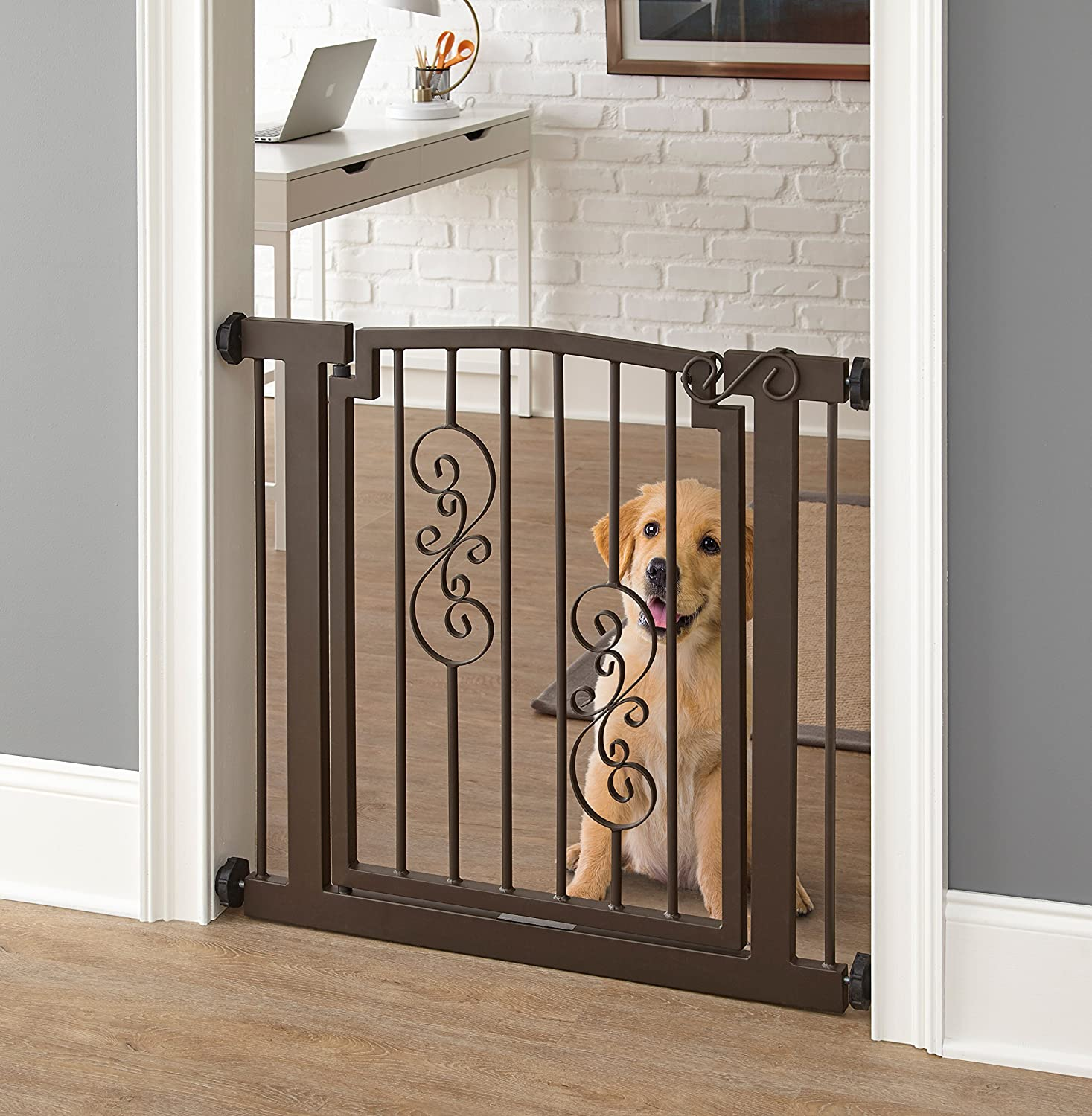 Noblesse Dog Gate – 34 -39.5 Wide 32 Tall – Indoor Pet Barrier, Walk Through Swinging Door, Extra Wide, Black. Pressure Mounted, Expandable. Walls, Stairs. Best Dog Gate.
