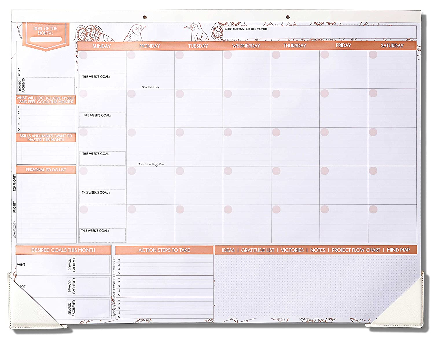 Deluxe Rose Gold Monthly Wall and Desk Pad Calendar - Over 12 Months of Advance Planning and Productivity   Undated - Sheet Size: 22x17 FREEDOM MASTERY