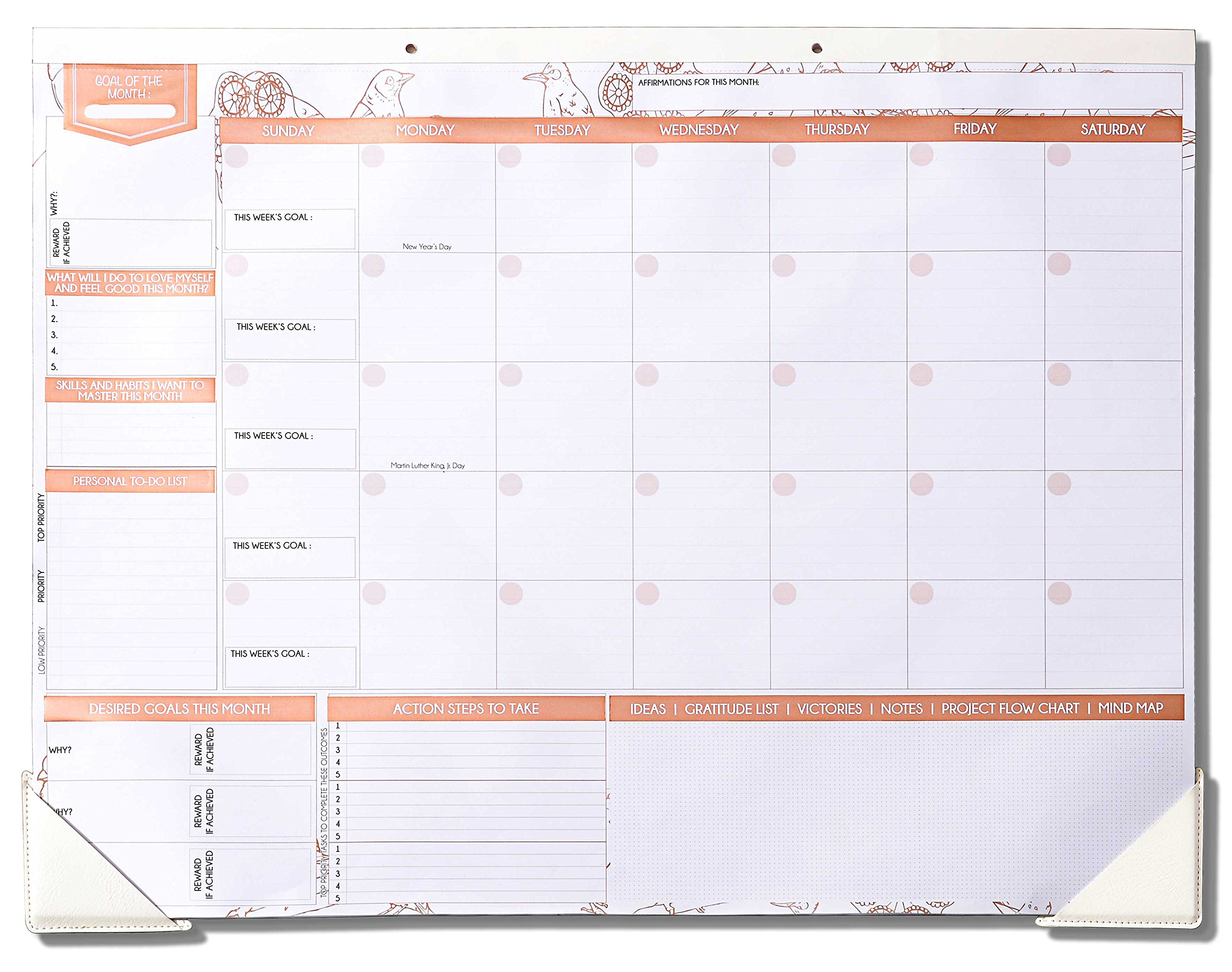 "Deluxe Rose Gold Monthly Wall and Desk Pad Calendar - Over 12 Months of Advance Planning and Productivity | Undated - Sheet Size: 22""x17"""