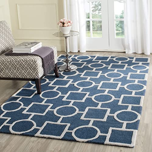 Safavieh Cambridge Collection Handcrafted Moroccan Geometric Premium Wool Area Rug, 8 x 10 , Navy Blue Ivory