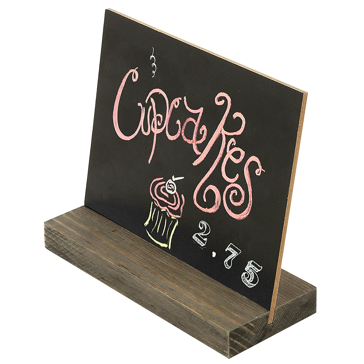 MyGift Mini Tabletop Chalkboard Signs with Rustic Wood Stands Set of 6 5 x 6-inch