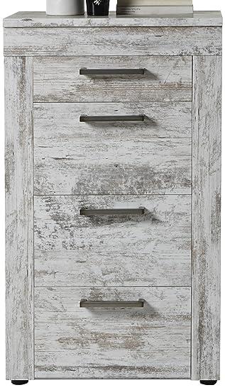 Trendteam Wohnzimmer Sideboard Kommode Schrank River, 60 x 102 x 41 cm in  Pine Weiß, Chabby Chic Retro Dekor mit viel Stauraum