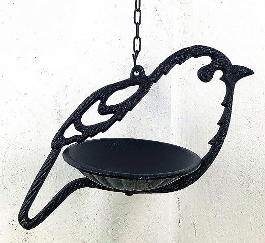 Spring Life - Comedero colgante de hierro fundido con forma de pájaro salvaje para decoración de jardín en 2 colores: Amazon.es: Jardín