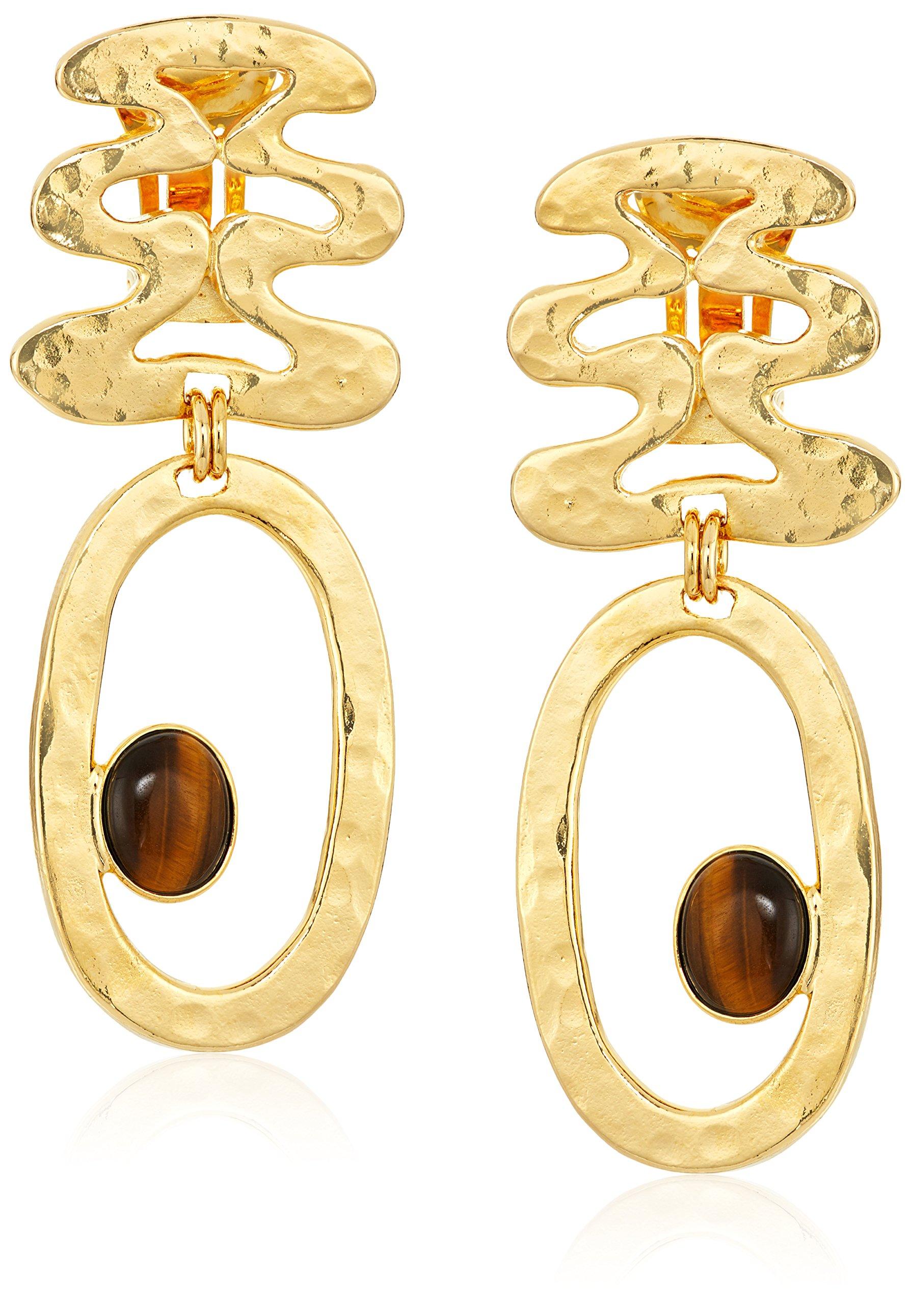Ben-Amun Jewelry Sculpture Garden Gold Wave Drop Earrings