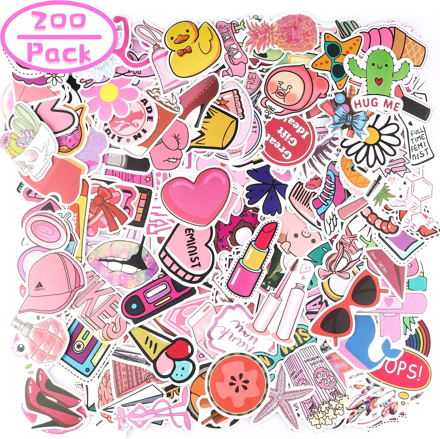Tinabless 200 Pcs Cute Stickers, Pink Vsco Stickers for Water Bottles, Laptop Stickers Pack Cute Aesthetics Stickers for Teens, Girls, Women, Vinyl Stickers Waterproof