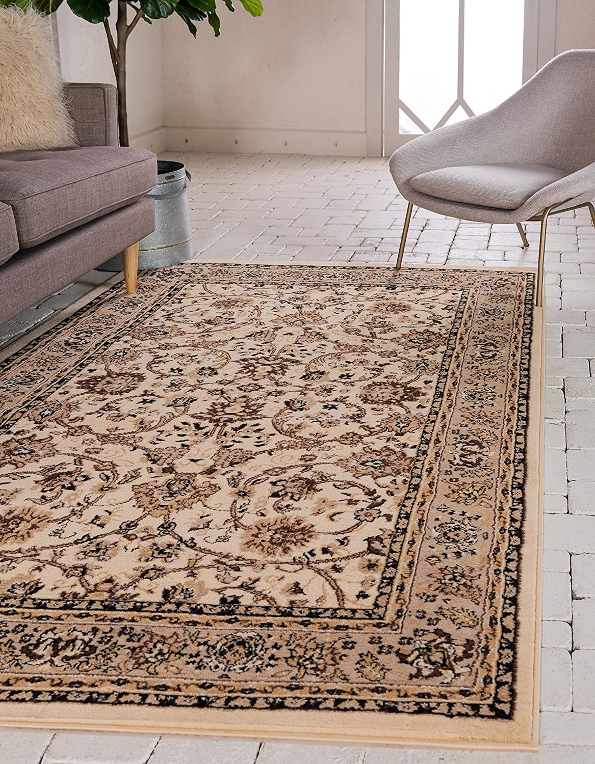 Unique Loom Kashan Collection Traditional Floral Overall Pattern with Border Ivory Area Rug (8' 0 x 10' 0)