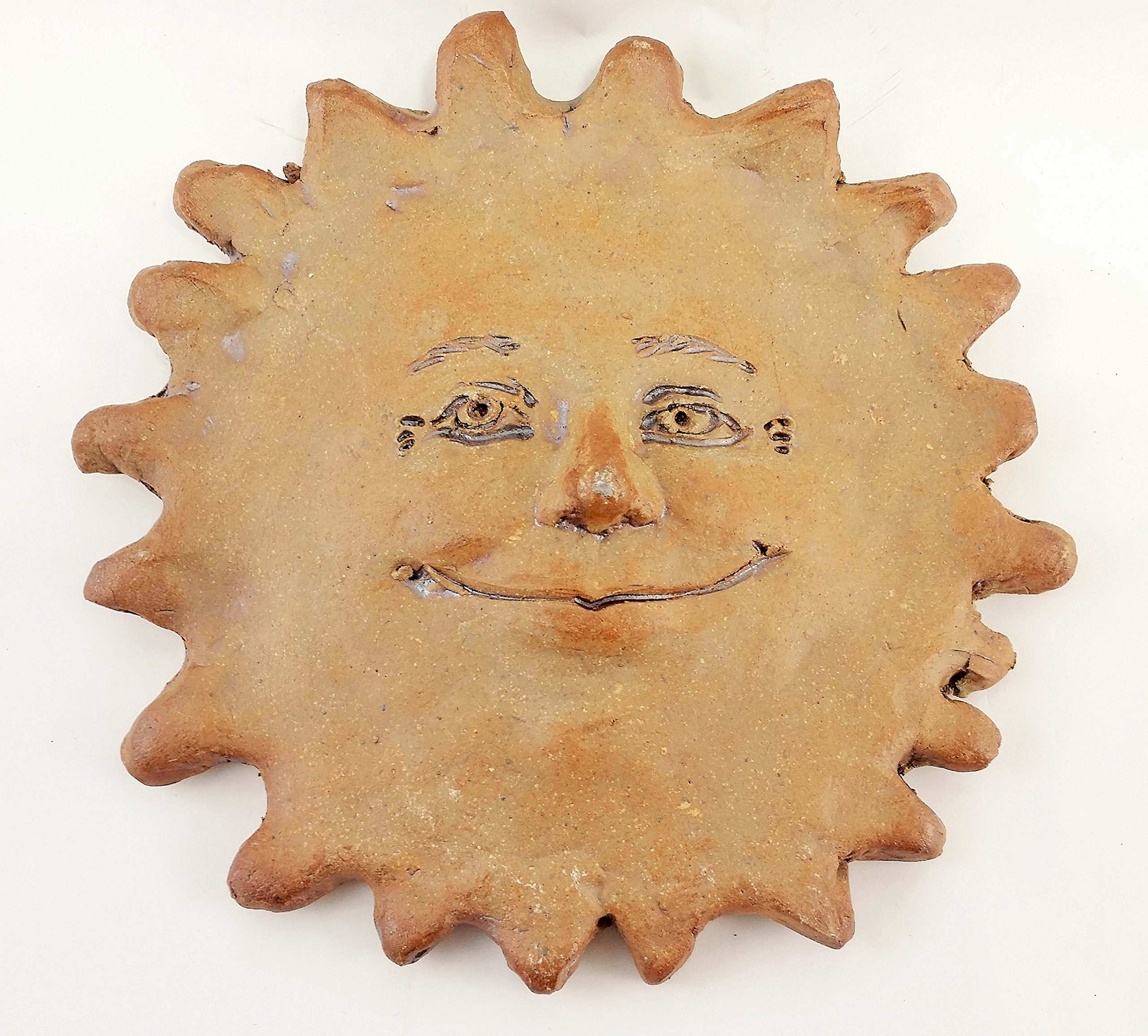 Aunt Chris' Products - 8 Inch Clay Sun Face - Full of Character and Delight - Use Inside Or Outdoors - Made In America