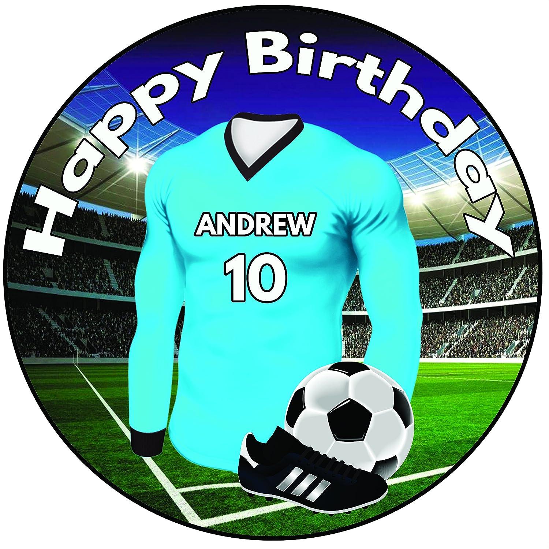 FOOTBALL EMOJI BLUE PERSONALSIED 7.5 INCH PRECUT EDIBLE BIRTHDAY CAKE TOPPER