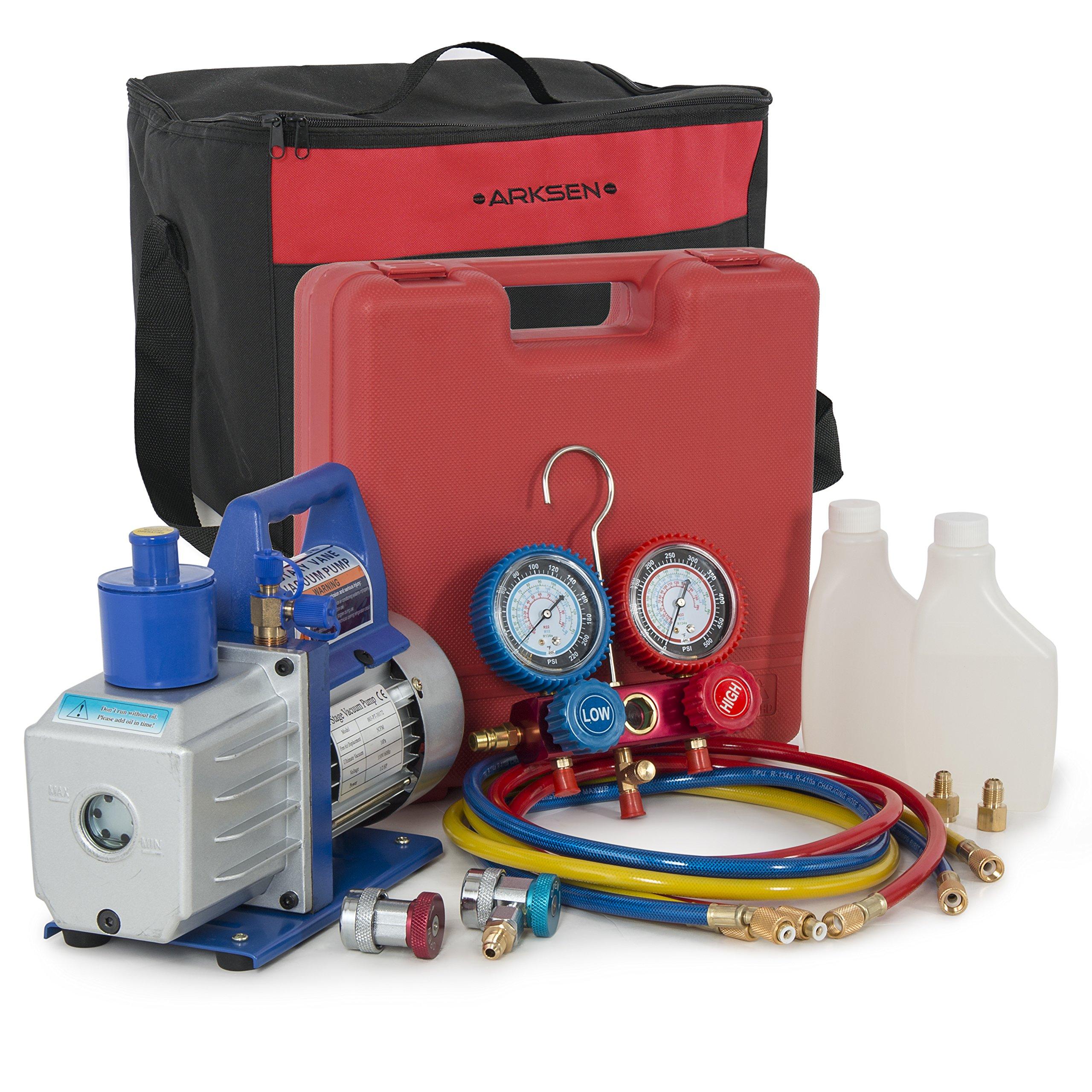 ARKSEN Vacuum Pump (1/2hp) A/C R134a Diagnostic Manifold Gauge Refrigerant w/ Carrying Tote Kit