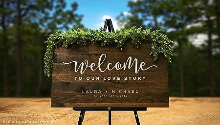 Zachrtroo Love Story Cartel de Bienvenida para Boda rústico ...