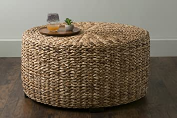 Charmant East At Main Langdon Brown Round Abaca Coffee Table, (35.5x35.5x18.