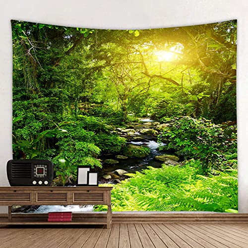 Lolytama Forest River and Sun Tapestry Wall Hanging Nature Landscape Tapestries for Bedroom Living Room Dorm Decor Forest River Sunset, 59.1 x 78.7
