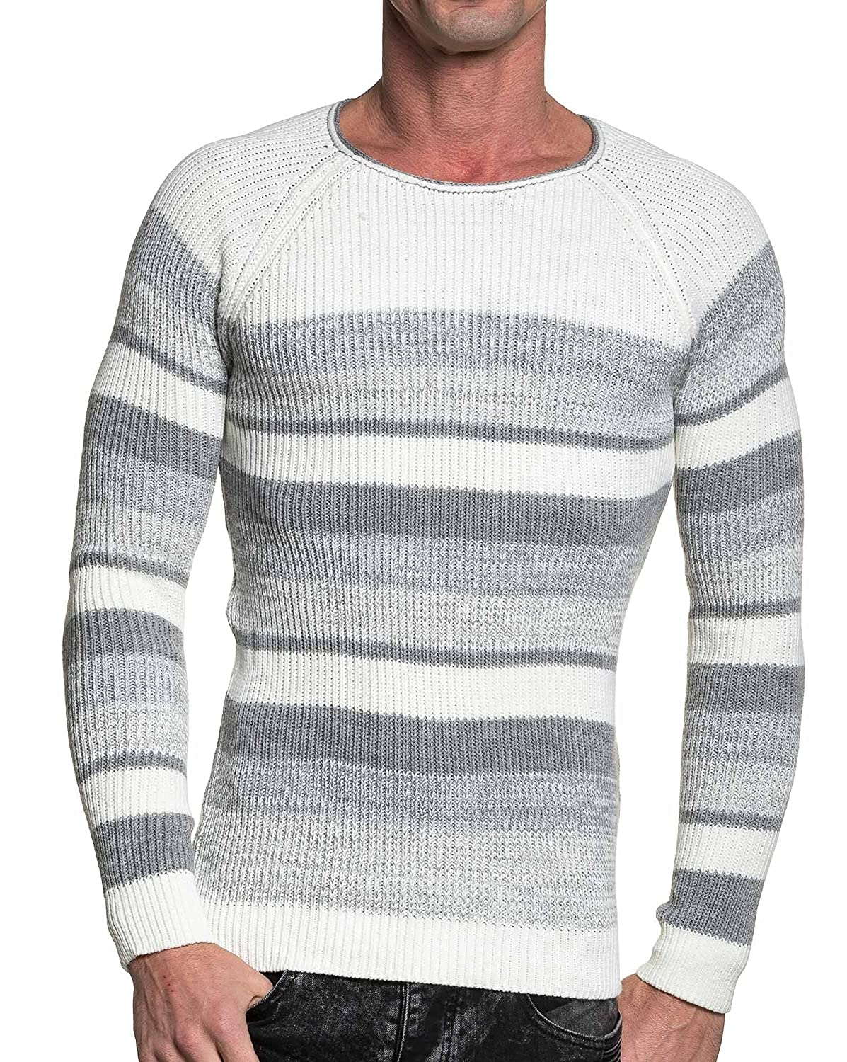 BLZ jeans - cream and gray sweater man in fine mesh