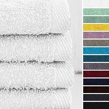 Lumaland Premium Set 4 Toalla de Manos 50 x 100 cm 100% Algodón 500 g/m² con Cinta Blanco: Amazon.es: Hogar