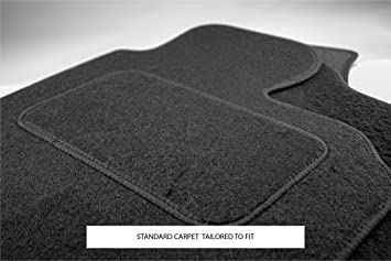 BLACK CARPET WITH WHITE BINDING KIA CEED 2012 FULLY TAILORED CAR MATS