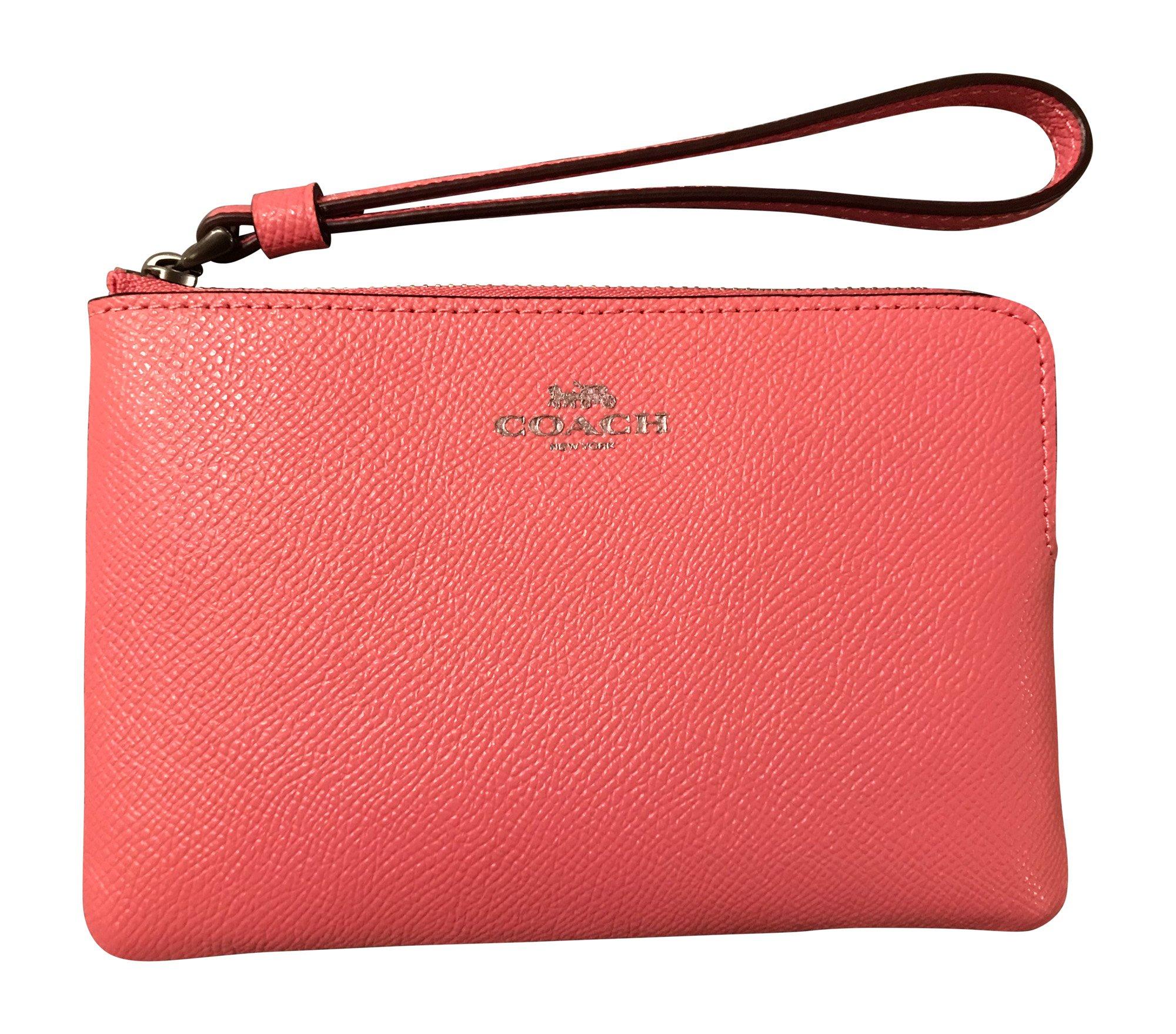 Coach Crossgrain Leather Corner Zip Wristlet, Pink