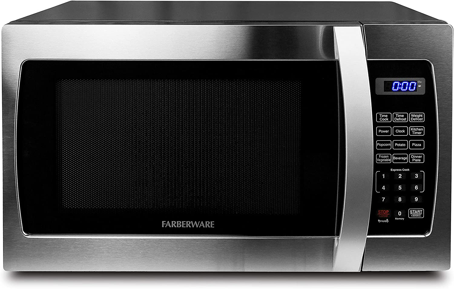 Farberware Professional FMO13AHTBKE 1.3 Cu. Ft. 1000-Watt, Microwave Oven with Blue LED Lighting, Stainless Steel