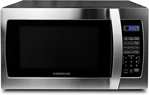 Microwave Oven with Blue LED Lighting, Stainless Steel