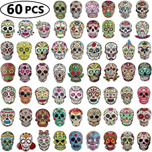 Sugar Skull Stickers Pack, Laptop Skull Decals for Dia De Los Muertos, Mexican Day of Dead Sticker for Water Bottle, Luggage, Bike, Computer, Skateboard Vinyl Decal Pack, 60 Styles (60 Pieces)