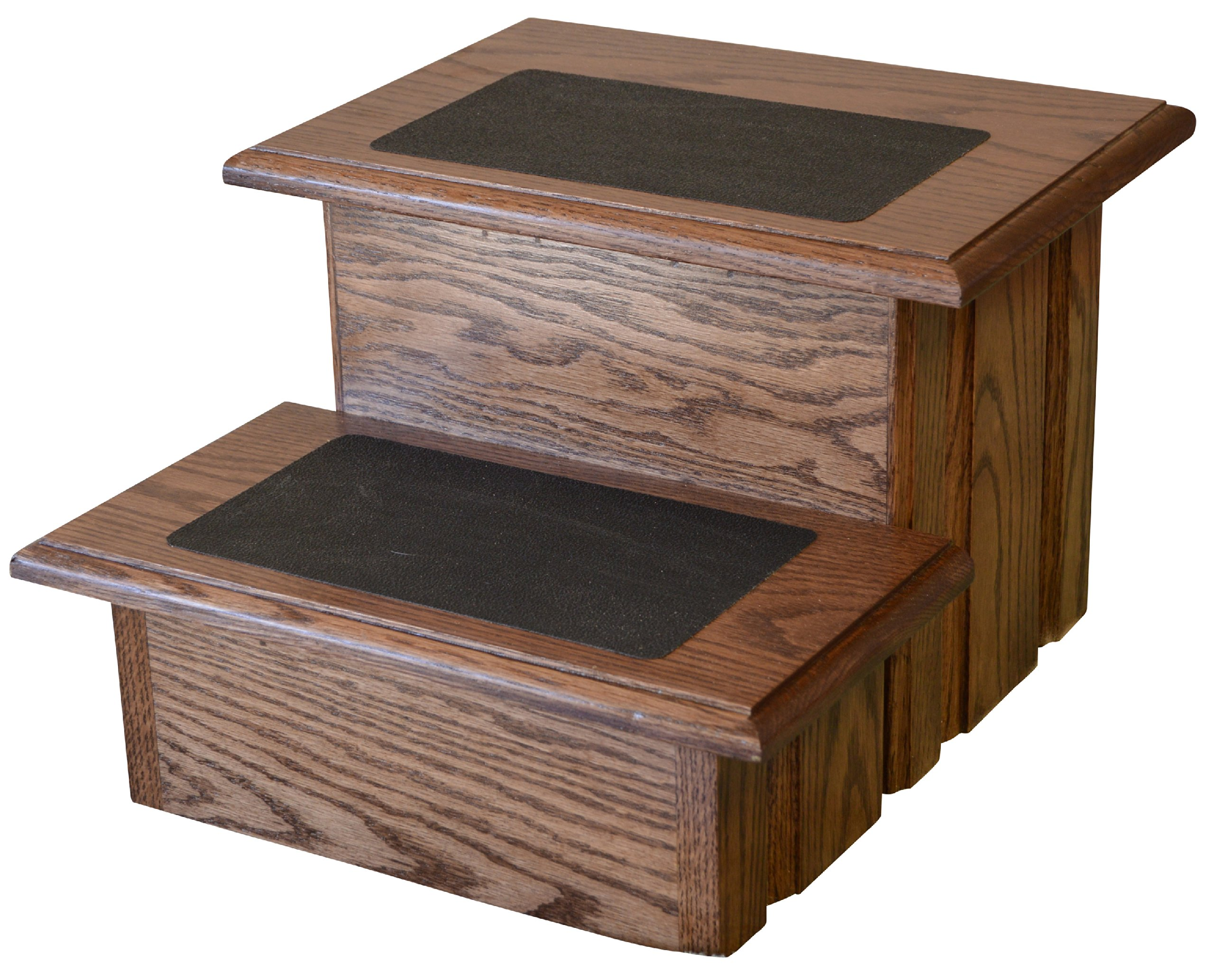 Deep Walnut Finished Solid Oak Step Stool With Non Slip Pad on a  Solid Tread 11 ½'' Tall