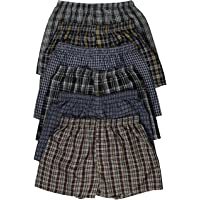 ToBeInStyle Men's 3 Pack or 6 Pack Classic Multicolored Checkered Woven Boxer Shorts w/Button