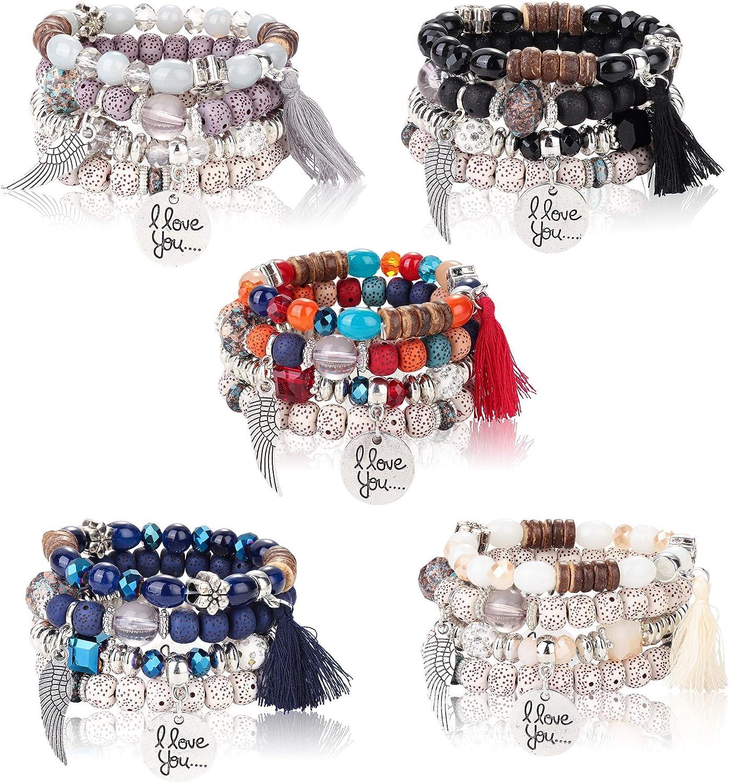 Charme Femmes Bohême Multicouche Pearl Beaded Tassel Pendentif Chaîne Bracelet Sets
