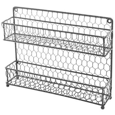 MyGift Rustic Gray Dual Tier Wire Spice Rack Jars Storage Organizer (Kitchen Countertop or Wall Mount)