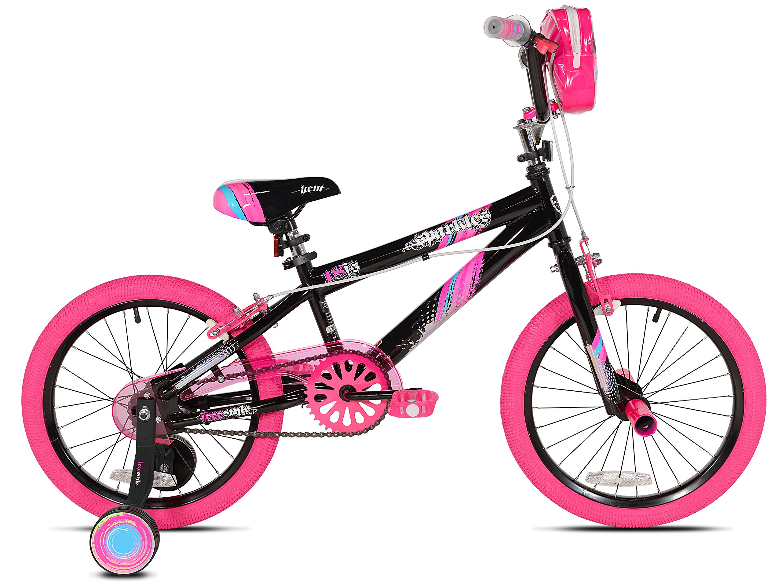 Kent 18'' Sparkles Girls Bike, Black/Pink Summer Toy Kids Outdoor Play by Kent 18'' Sparkles (Image #2)