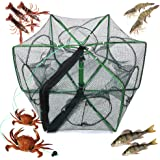 Nswdhy Crawfish Trap,Crab Fish Trap,Foldable Fishing Bait Trap Cast Net Cage, Easy Use Hexagon 6 Hole Cage Crab Fish Minnow C