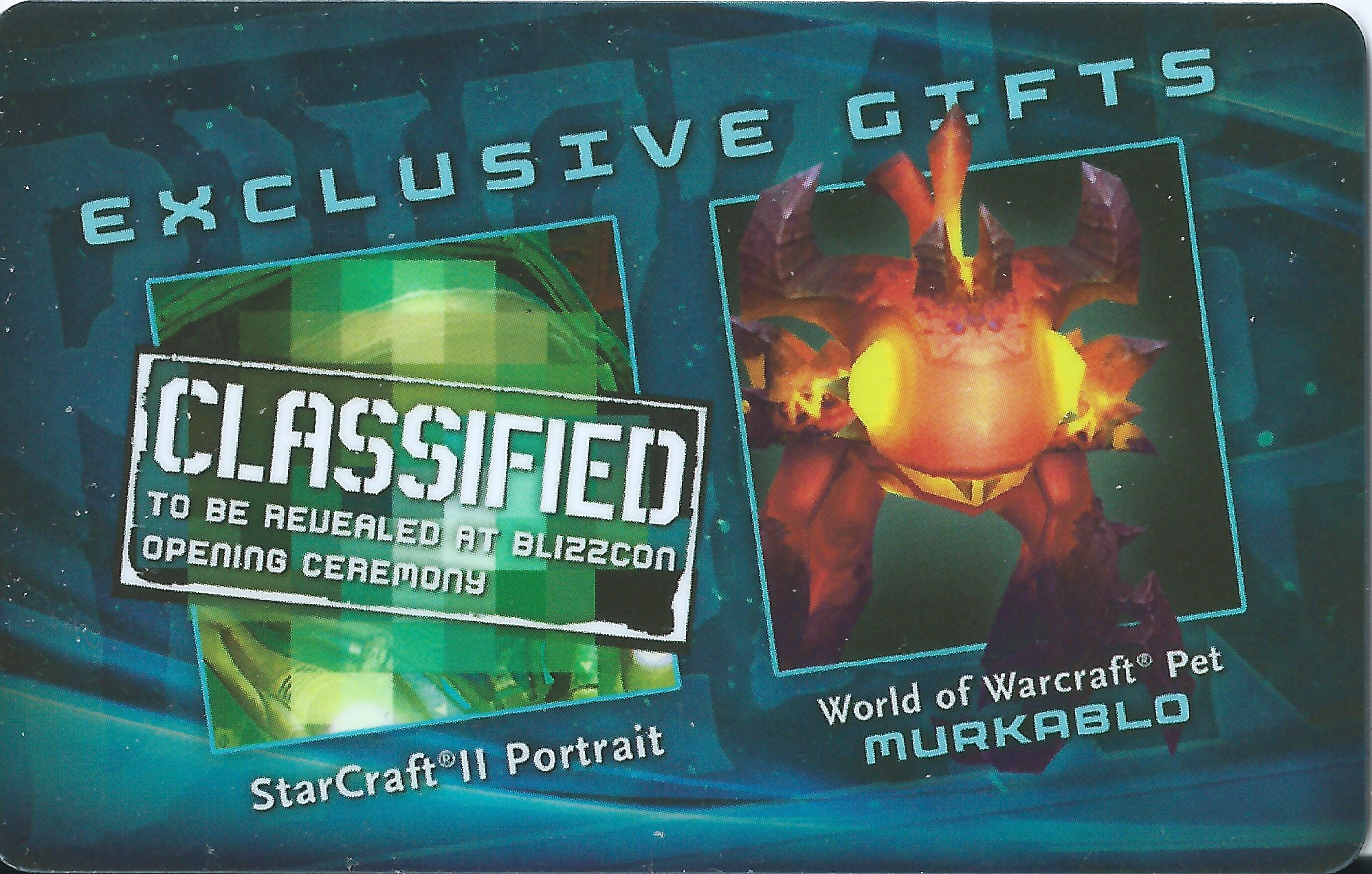 Blizzcon 2011 exclusive Murkablo pet World Warcraft wow + SC2 portrait loot card by Warcraft