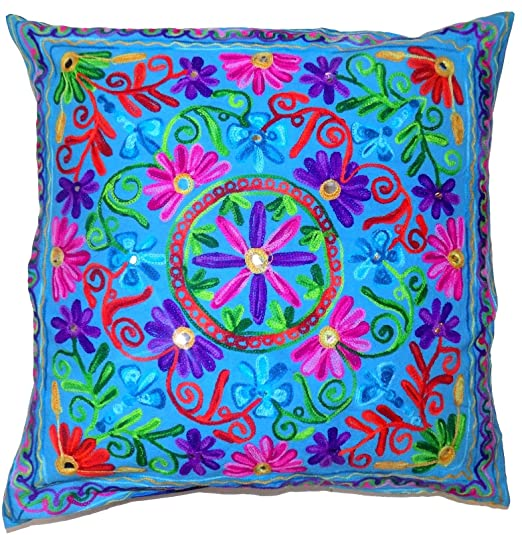 Flores Hojas turquesa azul Mandala círculo Rangoli Multi ...