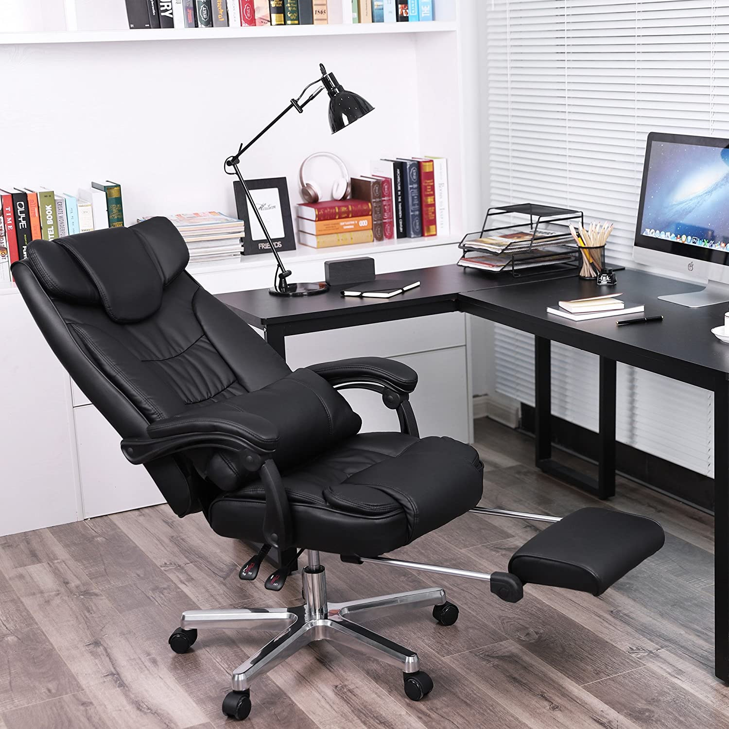 Amazon SONGMICS Ergonomic fice Chair Executive Gaming Swivel Chair with Foldable Headrest and Pull out Footrest PU Leather Extra Black
