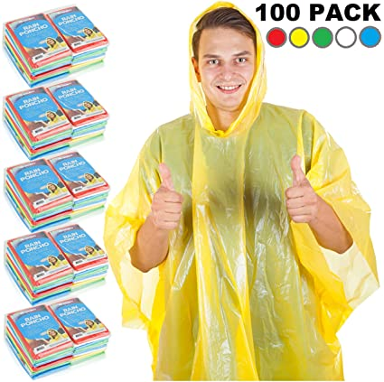 d356c3e5f48bf Wealers Rain Ponchos for Adults & Teens - Disposable Rain Poncho for Women  & Men One Size Fits All Emergency Raincoat for Theme Parks Camping Outdoors  Multi ...