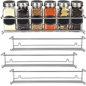 Spice Rack Organizer for Cabinet, Door Mount, or Wall Mounted - Set of 4 Chrome Tiered Hanging Shelf for Spice Jars - Storage in Cupboard, Kitchen or Pantry - Display bottles on shelves, in cabinets