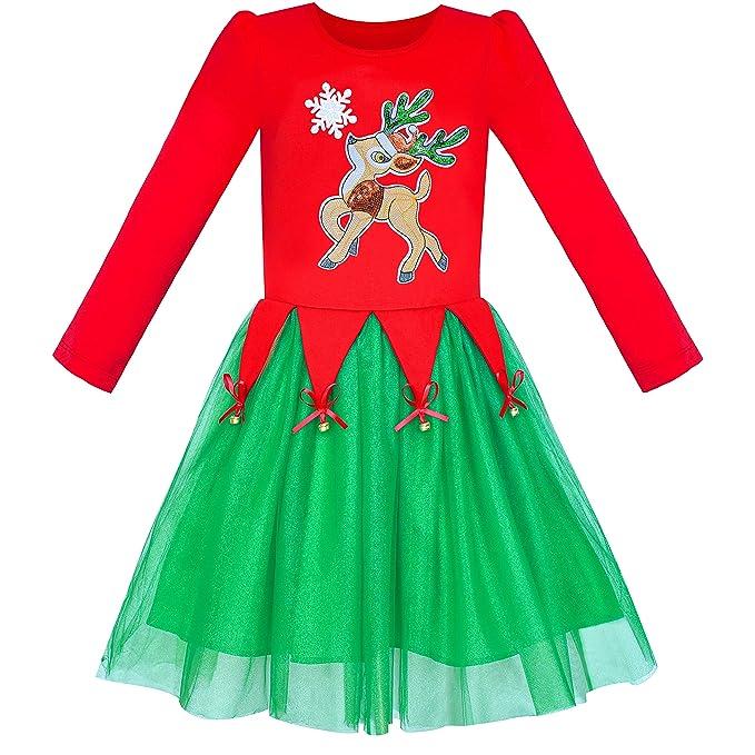 Sunny Fashion Vestido para niña Navidad Sombrero de Santa Manga Larga Fiesta 6-12 años: Amazon.es: Ropa y accesorios