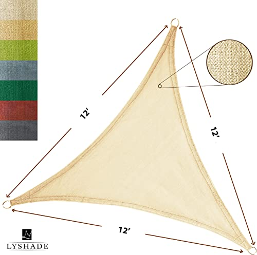 LyShade 12 x 12 x 12 Triangle Sun Shade Sail Canopy Cream – UV Block for Patio and Outdoor